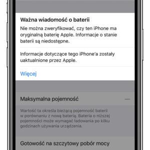 iPhone XR - informacja o baterii
